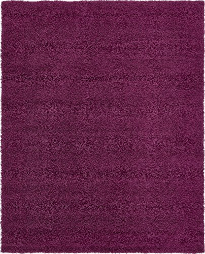 Unique Loom Solo Solid Shag Collection Modern Plush Eggplant Purple Area Rug (8