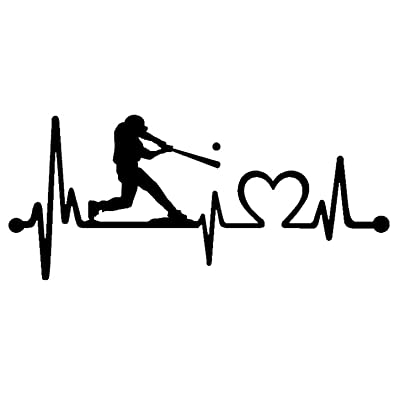 Bluegrass Decals K1075 Baseball Guy Batter Batting Heartbeat Lifeline Decal Sticker (Black): Automotive