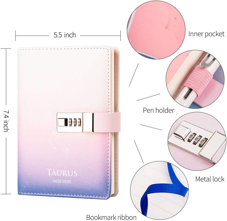 Lock Diary Leather Journal Writing Notebook Planner Organizer Starry Sky Constellation Personal Diary Aries