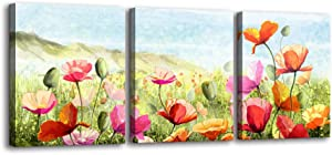 3 Pieces Flower Canvas Wall Art - Elegant Tulip Canvas Prints Still Life Painting Artwork Nature Pictures for Bathroom Bedroom Office Living Room Modern Home Kitchen Decor Ready to Hang (12x16inx3)