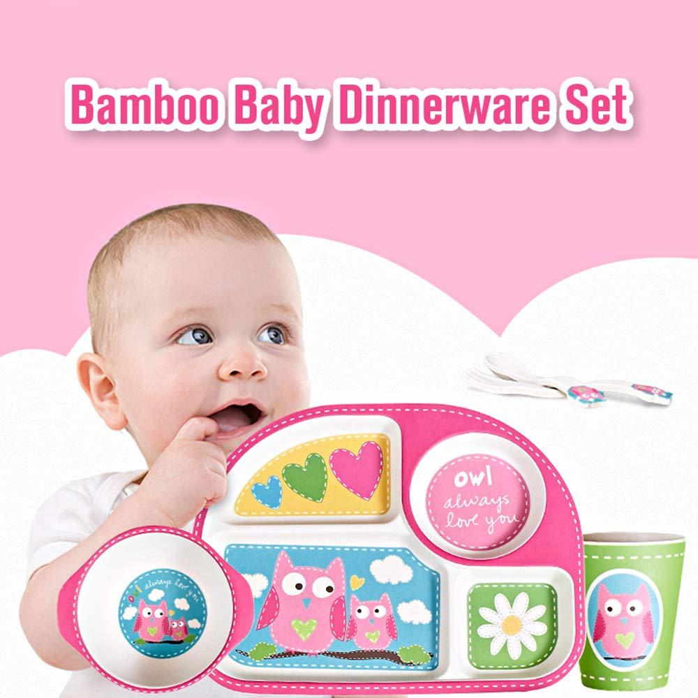 Docooler Bambus Geschirr Set Ungiftig Tragbare Baby Geschirr Geteilt Teller Sch/üssel Tasse L/öffel Gabel 5 St/ücke F/ür Baby Kleinkinder