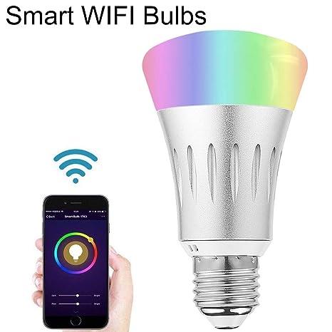 WiFi Smart LED Bombilla RGB + Frío Calentador, Lámpara Temporizador Bombilla E27 5060 Multicolor para