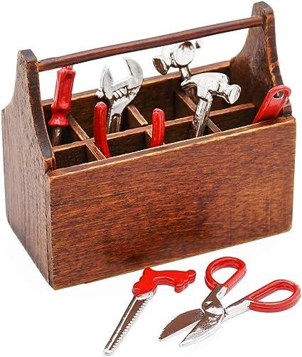 Dollhouse Miniature Multi-tool Storage Toolbox Case Garage Accessories Black