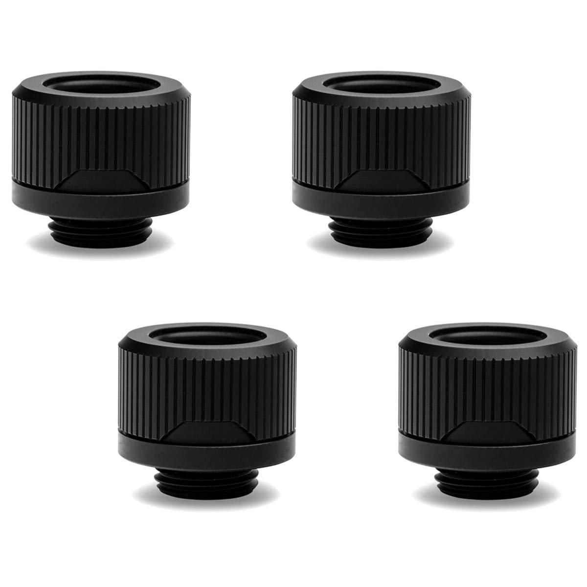EKWB EK-Torque HTC-14 Compression Fitting for EKWB Rigid Tubing, 14mm OD, Black, 4-Pack