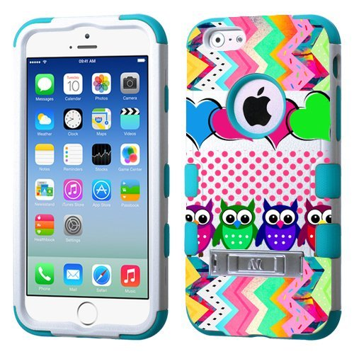 For Iphone 6  4 7   Colorful Owl White Plastic Blue Silicone Hybrid Phone Protector Cover With Stand  Colorful Owl Blue