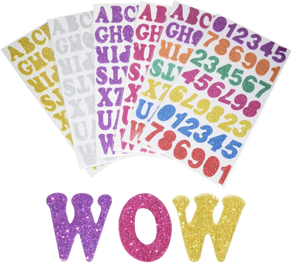 Glitter Foam Letters Stickers 6 Sheets Self Adhesive Alphabet Number Stickers,Craft Embellishments for Decorating Scrapbooking Card Making 247 Pieces