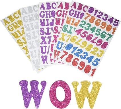 Kids Glitter Foam Numbers /& Letters Alphabets Stickers Card Art Craft Making