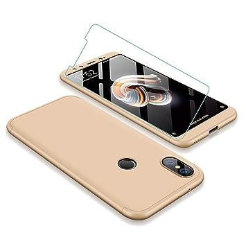 JOYTAG compatibles para Funda Xiaomi Mi A2/Mi 6X 360 Grados Caja 3 en 1 PC Case + Protectora de película de Vidrio Templado-Oro