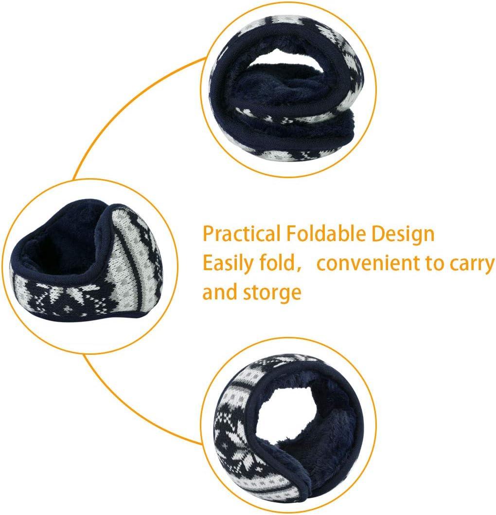 uxcell/® Warm Foldable Winter Knit Earmuffs for Women Men Khaki L 18x4.7