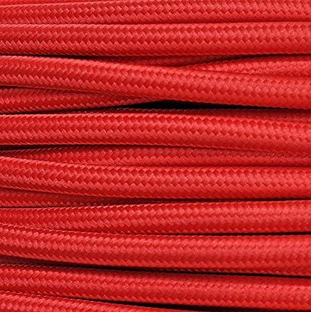 Câble électrique H03VV-F rond, de style vintage, gainé de tissu rouge, section 2x 0,75mm - Pour lustres, lampes Produit fabriqué en Italie. MeToo Design