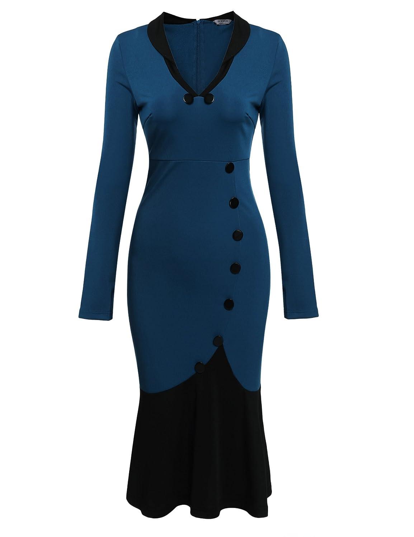 Zearo Damen Elegantes Abendkleid Langarm Knöpfe tiefe V-Ausschnitt Fishtail Bleistiftkleid Sexy Party Club Bodycon