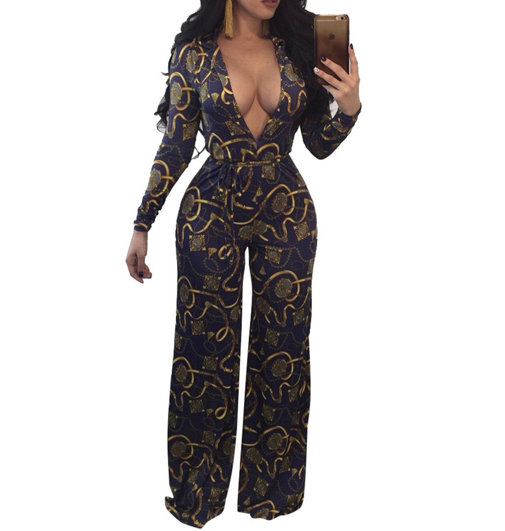 sexycherry Women's Casual Sexy Deep V Neck Print Long Pants Club Jumpsuits Rompers (Large, Navy Blue)