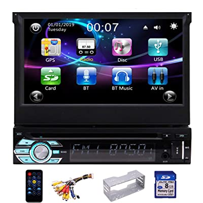 EinCar Single Din Car DVD Player 7inch GPS Navigation System 1 Din Car Radio Capacitive Touch Screen Bluetooth Stereo Support Mirror Link FM AM RDS SWC USB SD CAM-in: Electronics