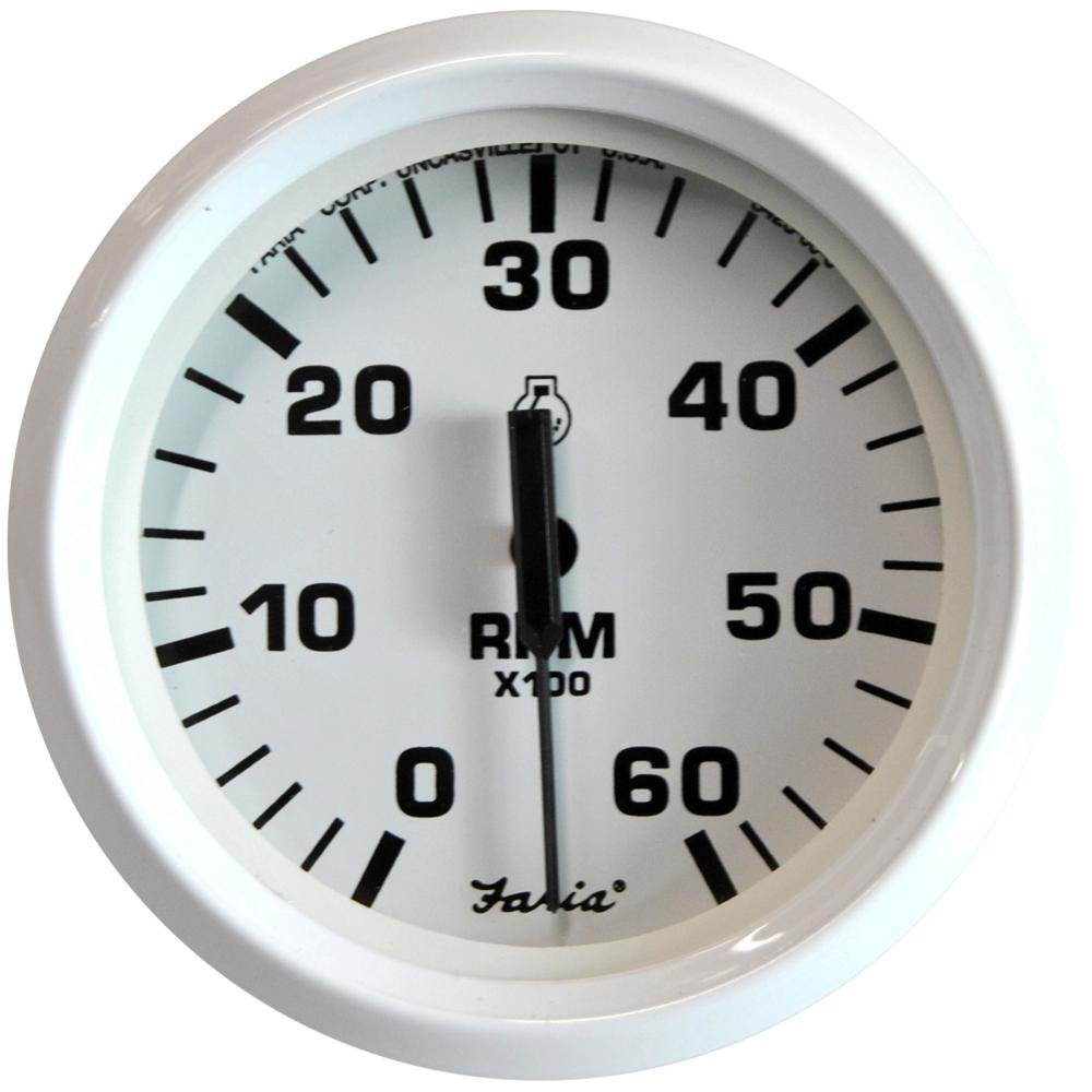 Faria Dress White 4' Gauge, 6000RPM Tachometer, Gas, Inboard and IO Faria Beede Instruments Faria Dress White 4 Gauge 33103