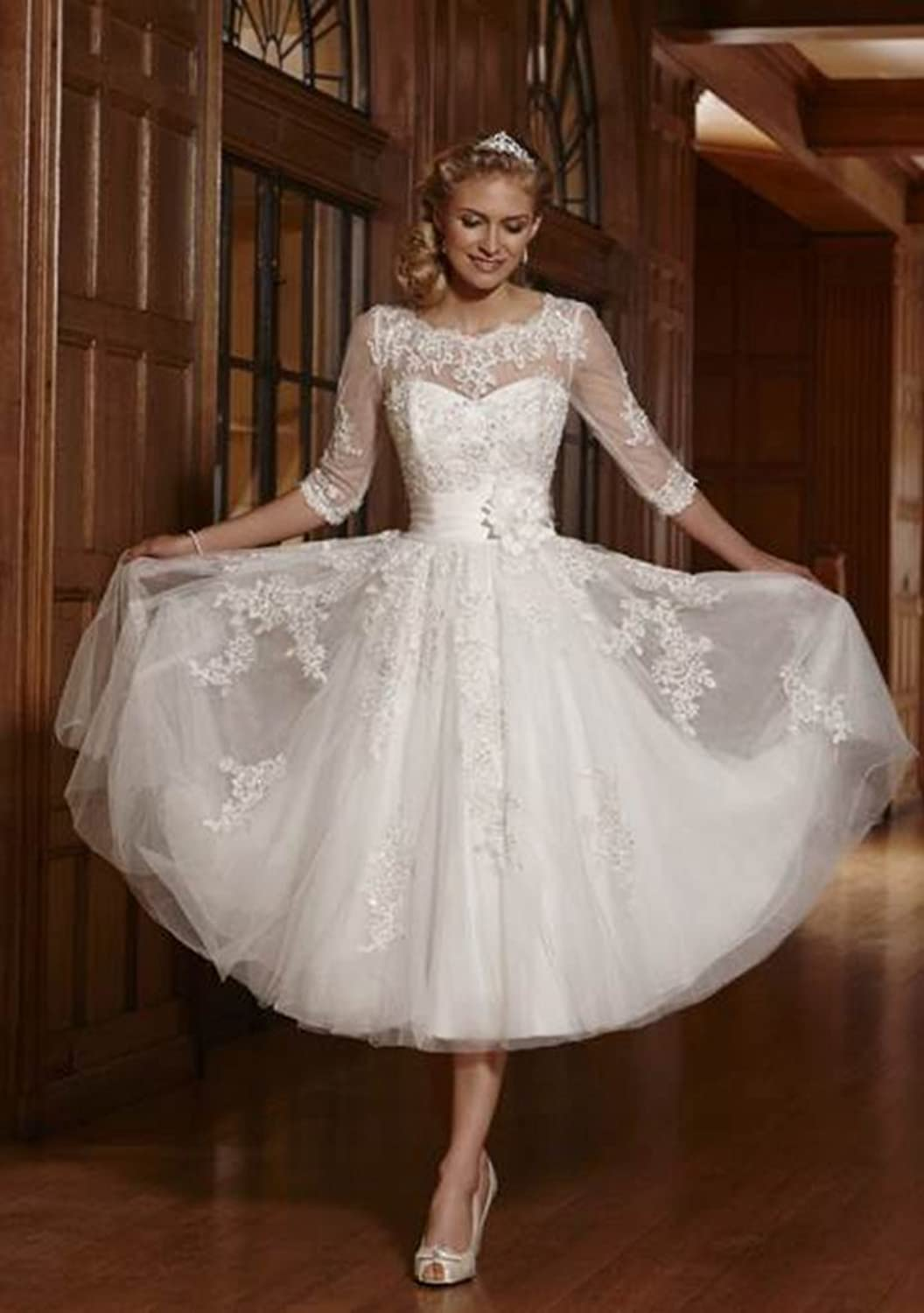 ZYJdress Lace Short Tea Length Wedding Dress Bridal Gowns At - Mid Length Wedding Dresses