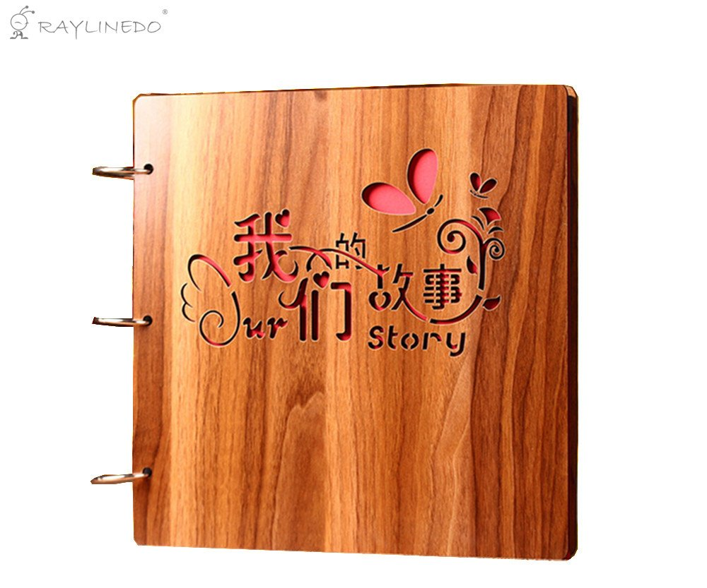 RayLineDo 16'' Quality Wooden Covered Carving Personalized DIY Photo Album Wood Made Ring Binder Book Style Picture Photo Scrapbook for Wedding Baby Anniversary Happy Memory - 30 Sheets (60Pages)
