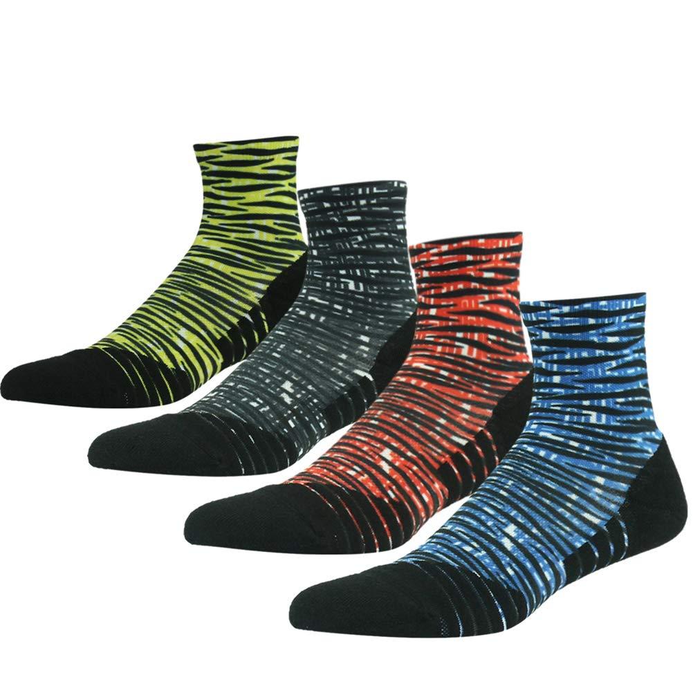 HUSO Men's Women's Athletic Sports Seamless Anti-blister Socks Gym Training Socks,4 Pairs(Multicolor,L/XL) by HUSO