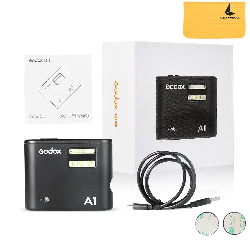 GODOX A1 Smartphone Flash 2.4G Wireless System Flash Trigger Constant Led Light with Battery for iPhone 6s/6s plus/7/7 plus by Godox