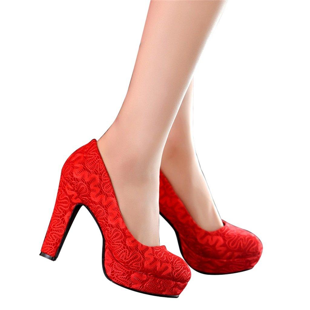ALUK- Zapatos de novia - zapatos de boda rojo tacones altos con encaje grueso en los zapatos de la boda ( Color : Rojo , Tamaño : 35 )