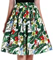 Yige Women's Midi Skirts Vintage A-line Printed Pleated Flared Skirts for Women