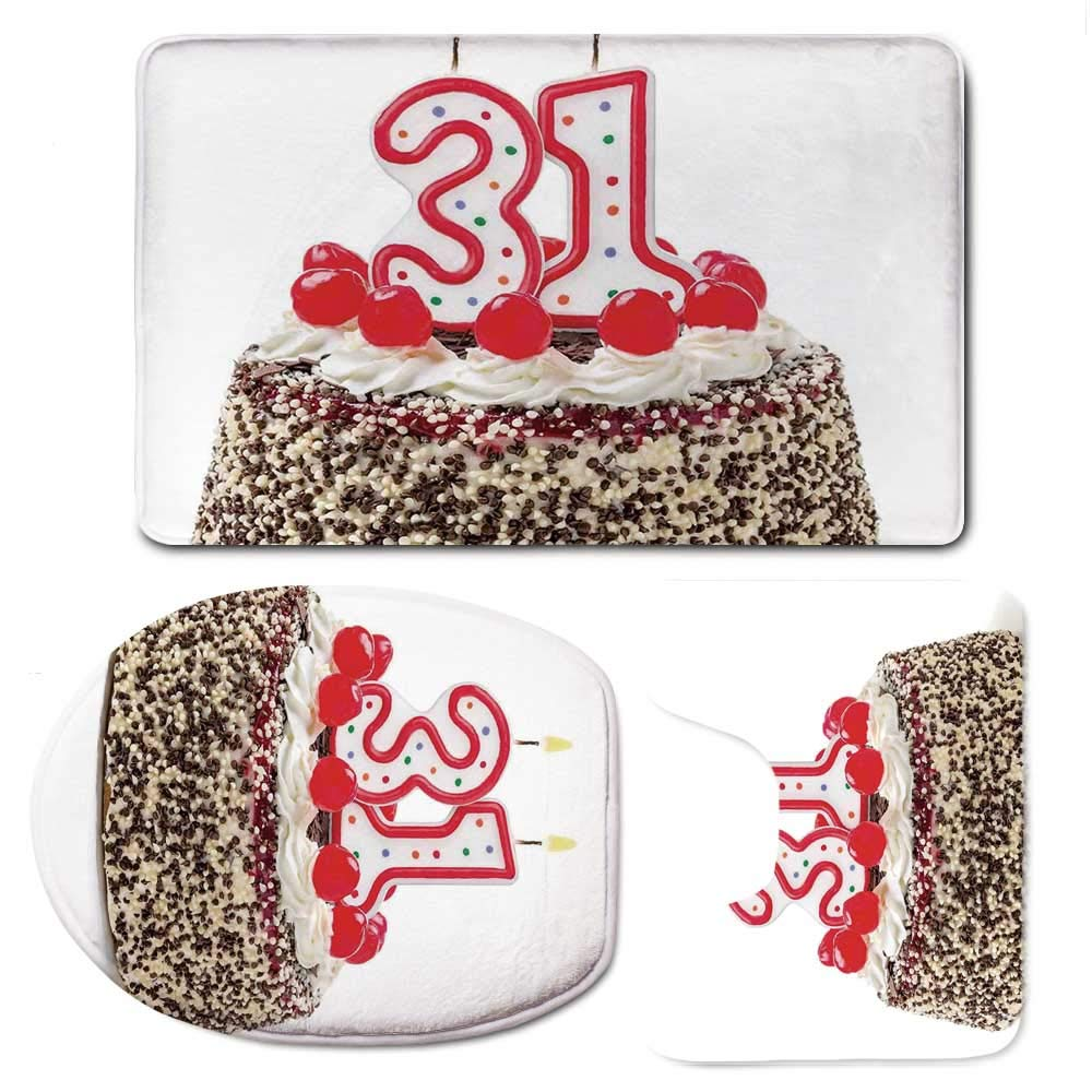 YOLIYANA 31st Birthday Decorations Simple Bathroom 3 Piece Mat Set,Cake Thirty One Candles Chocolaty Desert Cherries Surprise Event for Living Room,F:20'' W x31 H,O:14'' Wx18 H,U:20'' Wx16 H