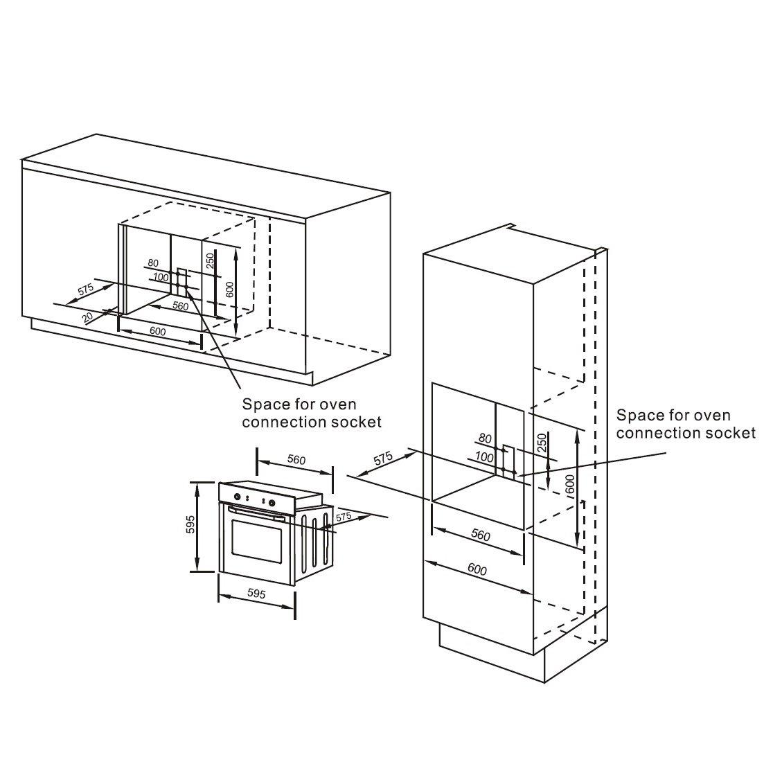 Cookology COF600BK 60cm Black Built-in Single Electric Fan Forced Oven /& timer