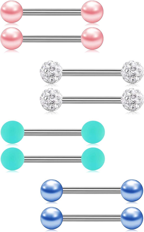 """Nipple Barbell w//4mm Balls 2pc.14G~1//2/"""",9//16/"""",5//8/"""",11//16/"""",3//4/"""",7//8/"""" 316L Tongue"""