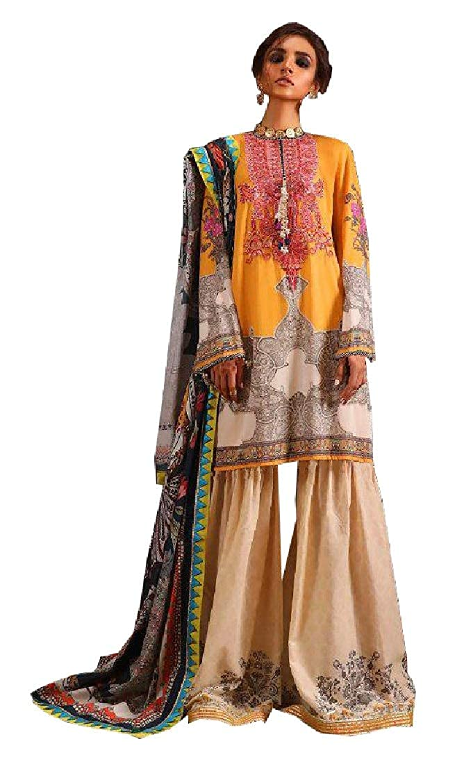 Cotton unstitched Suit 3 piece with Neck Embroidery and Lace on Kameez