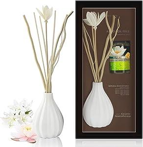ap airpleasure Dried Flower Reed Diffuser Set, Natural Sticks, Elegant Ceramic Bottle, Aromatherapy Oil Set, Home Fragrance & Decorative Diffuser (LilyLotus)
