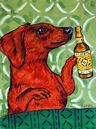 Dachshund at the Bar signed dog art Print gifts prints