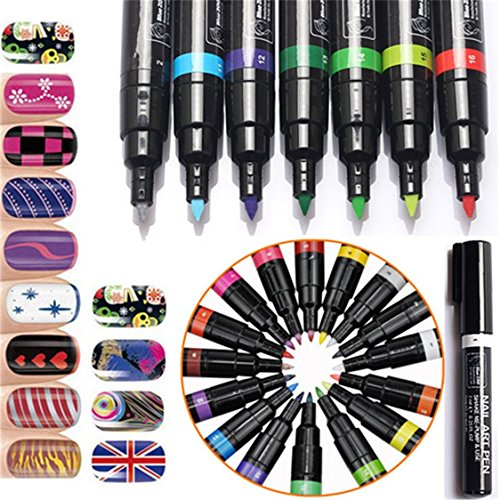 OrliverHL 16 Colors Nail Art Pen Polish Painting Drawing ...