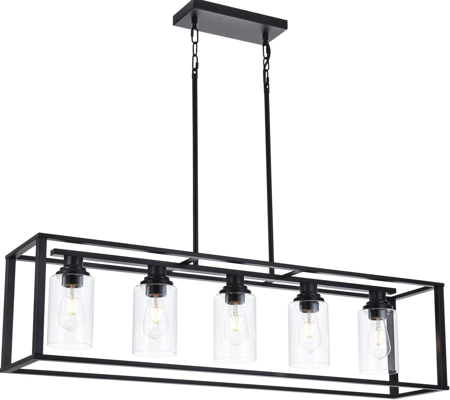 LUBURS Kitchen Island Lighting - 5 Lights Chandelier, Black Pendant Lighting with Metal Adjustable Rods&Clear Glass Shade, Vintage Pendant Ceiling Lamp for Dining Room Kitchen Living Room Farmhouse - -