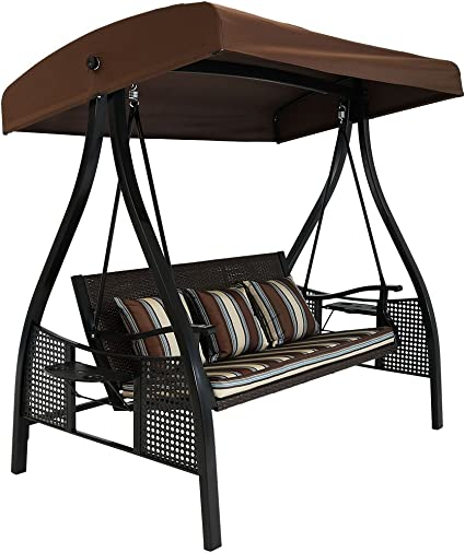 Amazon Com Sunnydaze 3 Seat Deluxe Outdoor Patio Swing With Heavy Duty Steel Frame And Canopy Brown Stripe Cushions 600 Pound Weight Capacity Sunnydaze Decor Kitchen Dining