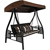 Sunnydaze 3-Seat Deluxe Outdoor Patio Swing with Heavy Duty Steel Frame and Canopy, Brown Stripe Cushions, 600-Pound…