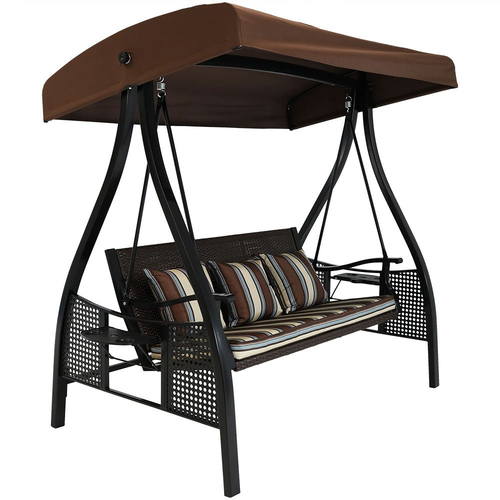 Sunnydaze 3-Seat Deluxe Outdoor Patio Swing with Heavy Duty Steel Frame and Canopy, Brown Stripe Cushions, 600-Pound Weight Capacity by Sunnydaze Decor