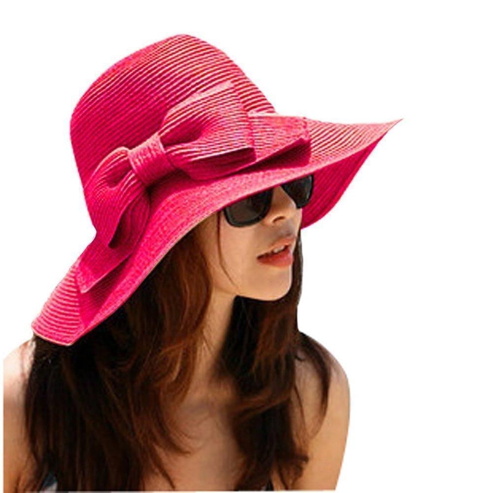 TININNA Cappello da Sole,Donne Delle Ragazze Spiaggia Di Modo Anti-Uv Decorazione Arco Tesa Larga Cappello Di Paglia Del Sole(beige) CEU0092MW