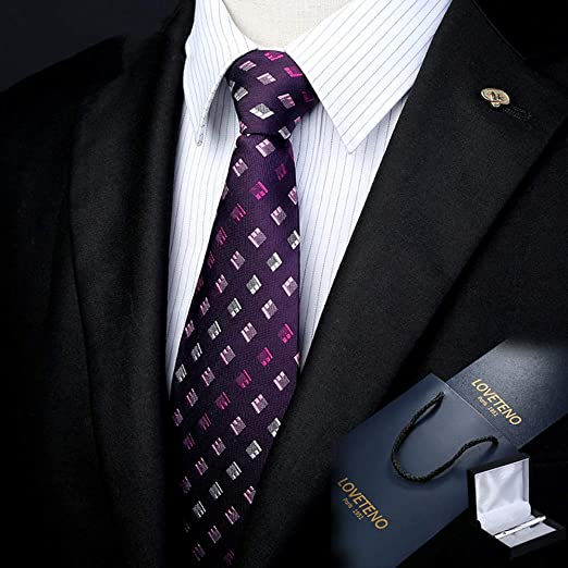 GuanBen Corbata de los Hombres Seda Ancho 8/9 CM Elegante Fucsia ...