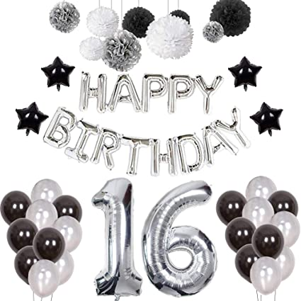 Puchod 16th Birthday Decorations Happy Decoration Banner Number 16 Foil Ballon Party Decor Set