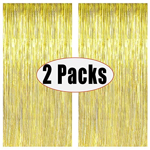 FECEDY 2pcs 3ft x 8.3ft Gold Metallic Tinsel Foil Fringe Curtains Photo Booth Props for Birthday Wedding Engagement Bridal Shower Baby Shower Bachelorette Holiday Celebration Party Decorations (Hanging New Curtains)
