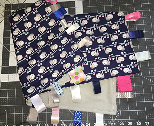 - SLOTH ~ Baby Blanket with Ribbon Tabs