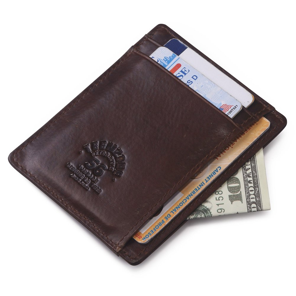 Teemzone Delgado Cartera Tarjetero Hombre Piel RFID Protección Billetera Organizador de Tarjetas (Café Tarjetero): Amazon.es: Equipaje