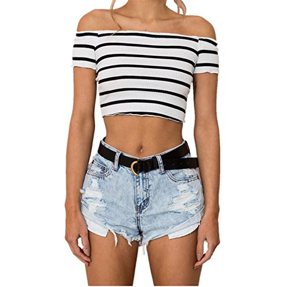 Camiseta de Mujer, 2018 Hot Sale Summer Off Hombro Cross Stripe Midriff-Baring Firm