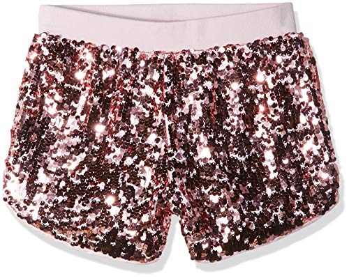 GUESS Girls' Big Pull ON Sequin Active Shorts, high Risk Pink, 10
