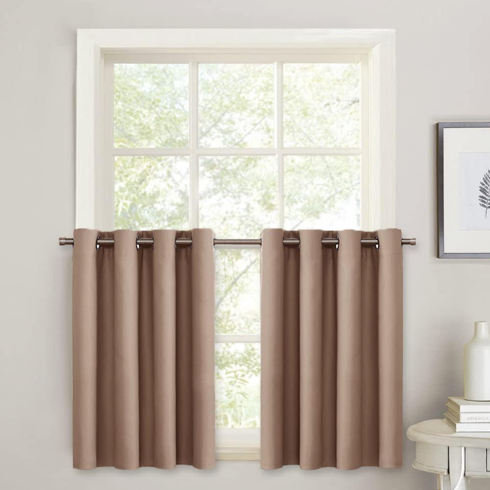 PONY DANCE Blackout Valance Curtain - Half Length Grommet Window Tiers for Basement Short Curtains Light Block & Privacy Protect, 52 Wide by 36 Long, Mocha, 2 PCs