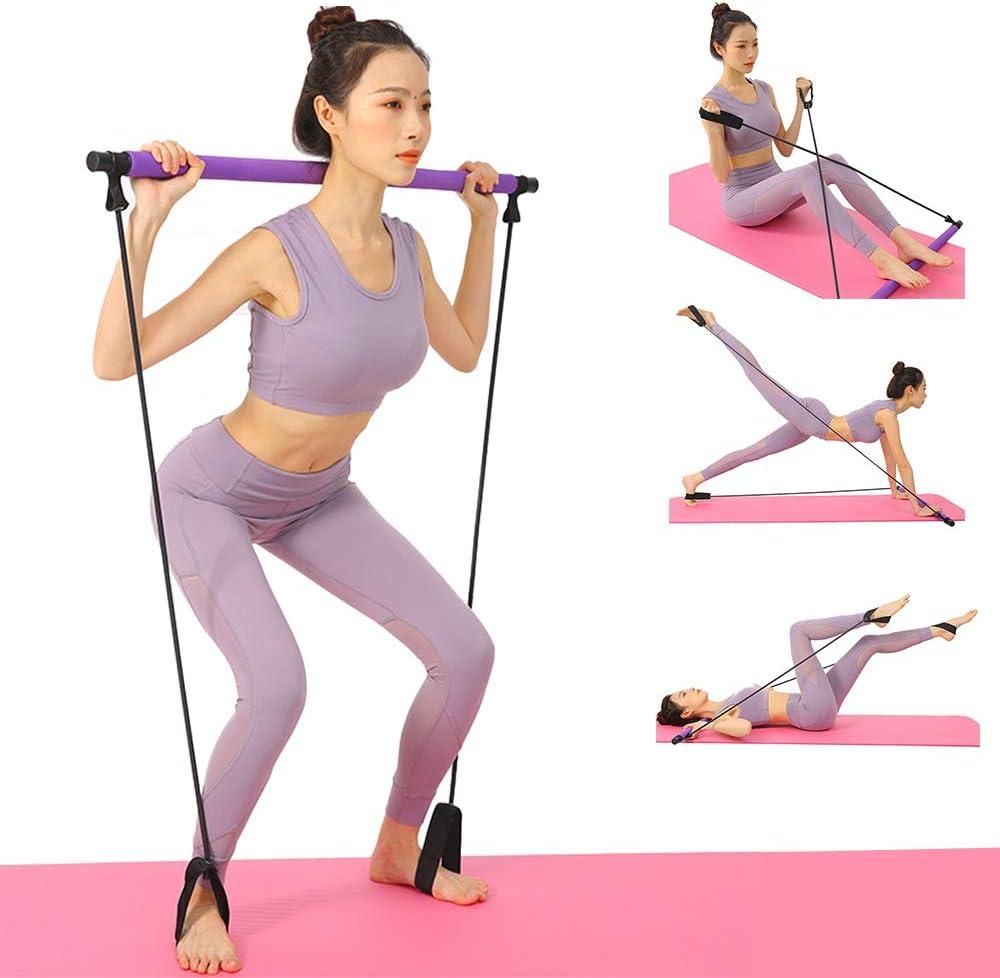 Stretch Twisting Sit-Up Bar Widerstandsband Sculpt Tragbares Pilates Bar Kit mit Widerstandsband Yoga Pilates Stick Yoga Gymnastikstange mit Fu/ßschlaufe f/ür Yoga