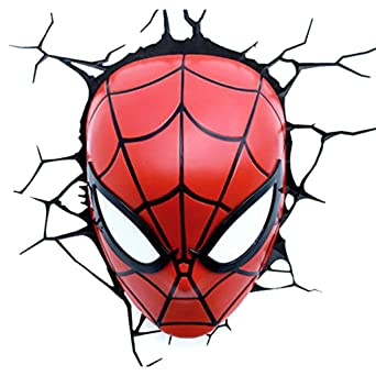 De Xu 3d Lampe Spiderman Applique Murale Mask Mei Table 9DHIE2