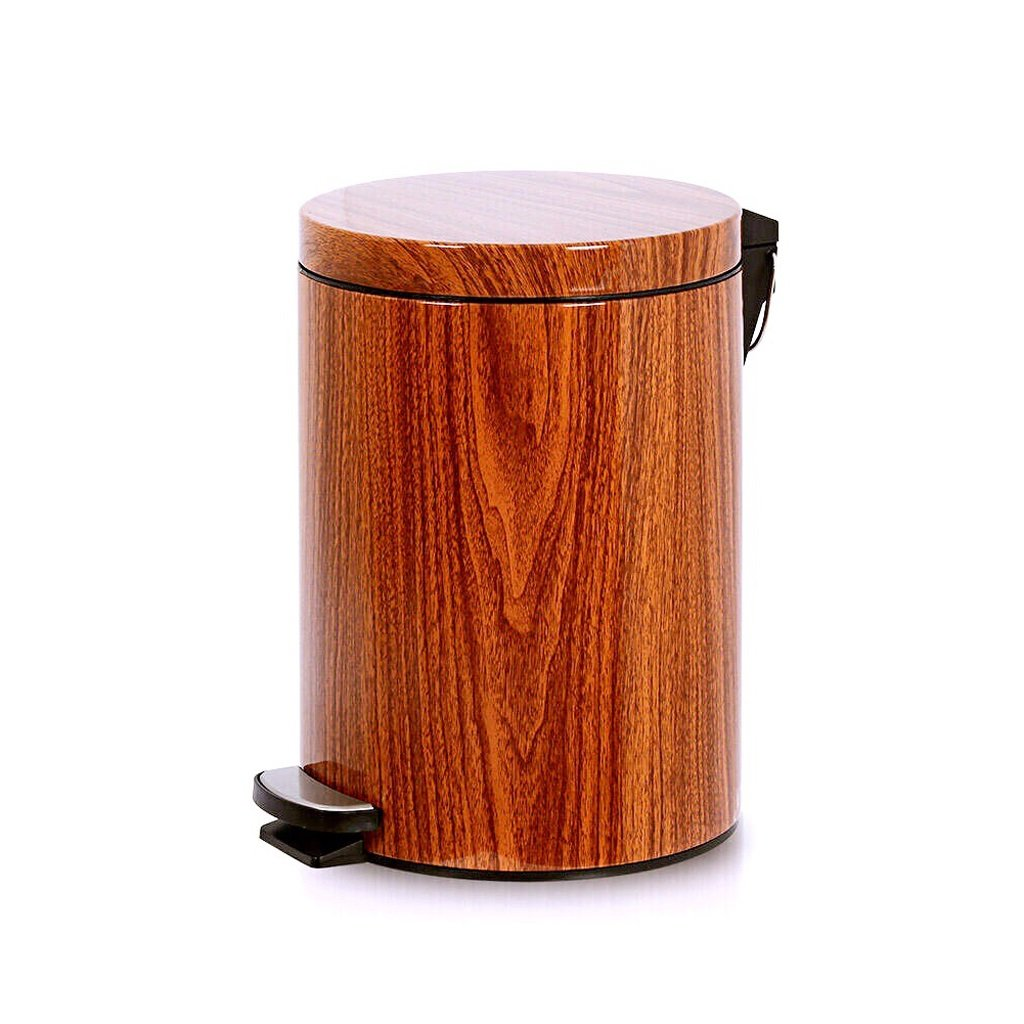 Imitation Wood Grain Trash Can, Kitchen Covered Living Room Trash Can - Bathroom Foot-Mount Home Mute (Size : 9L) by Trash can kitchen trash can small trash can bathro (Image #1)