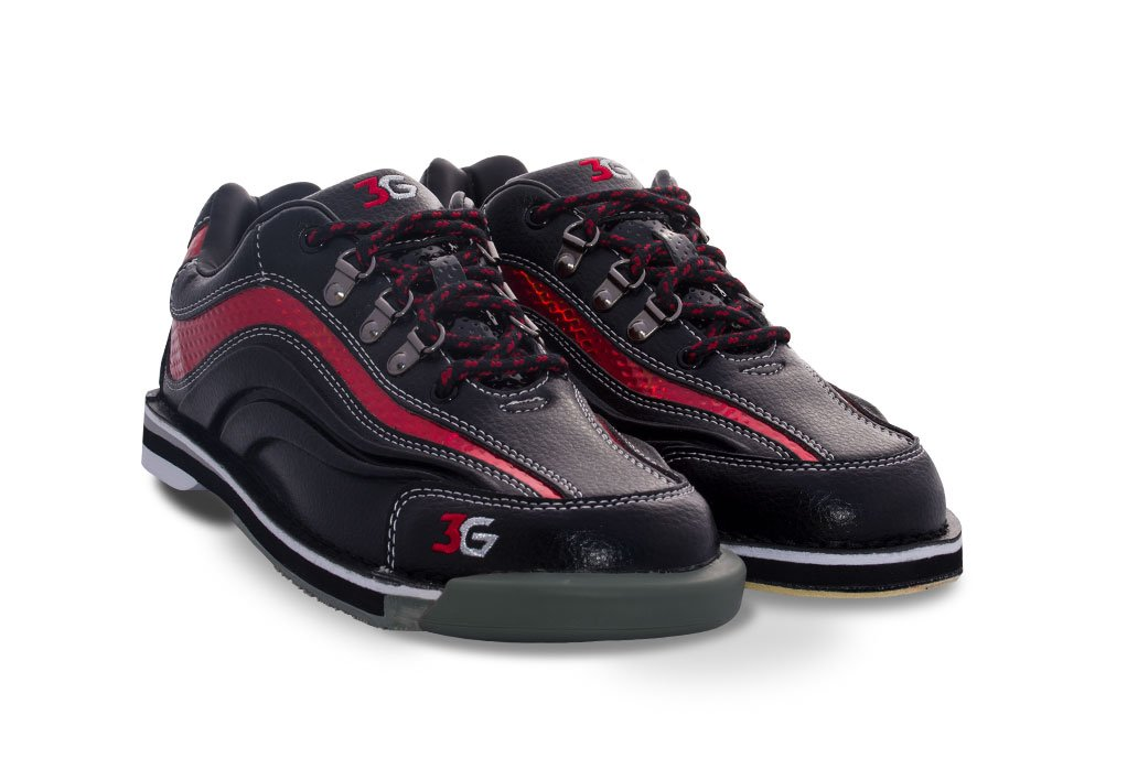 3G Sport Ultra Black/Red Men's Right Hand Bowling Shoes, Size 10
