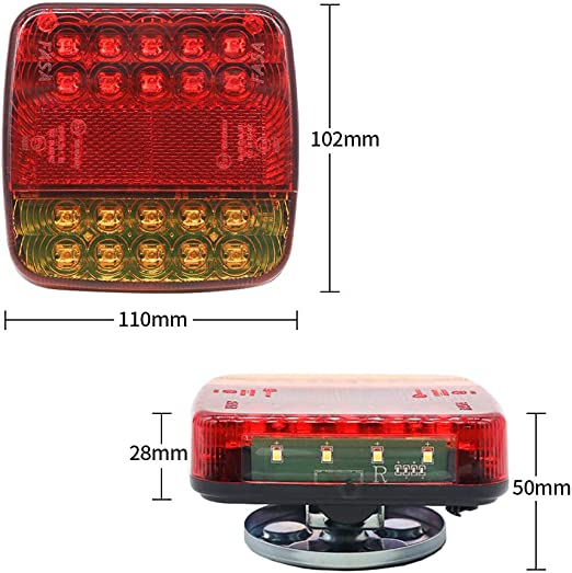 Aohewei Wireless Lighting Led Set Magnetische Anhänger Rücklichter Kabelfrei 12v Lkw Hinten Ece Emc Zugelassen Für Anhänger Lkw Wohnwagen Oder Lkw Auto