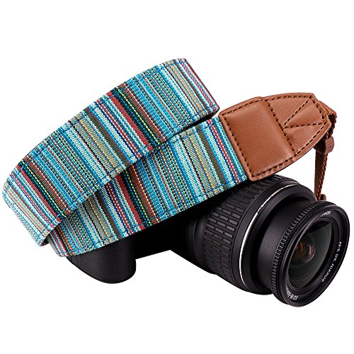 Wolven DSLR/SLR Camera Neck Shoulder Strap Belt Canvas Digital Camera Strap For Nikon Canon Samsung Pentax Sony Olympus Leica ETC (Cyan Stripe Pattern) (Strap Pentax)